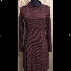 Prana Alicia Plum Multi-Color Striped Dress M